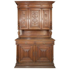Hand Carved English Walnut Sideboard