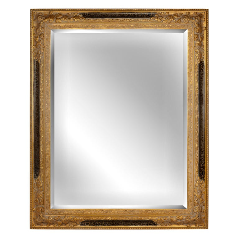 Large gold beveled mirror for sale at 1stdibs for Big mirrors for sale