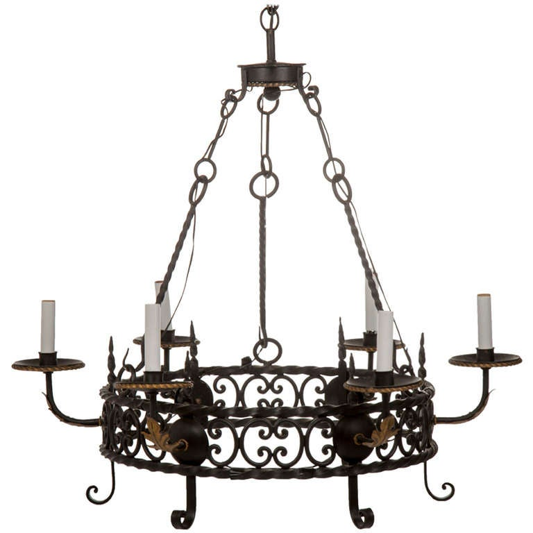 1920s Style Wrought Iron Chandelier