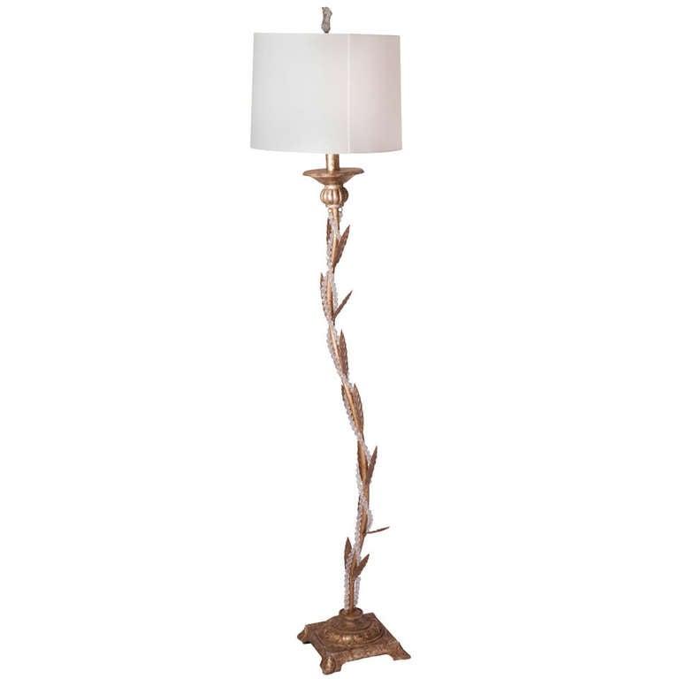 Tole Leaf Beaded Floor Lamp