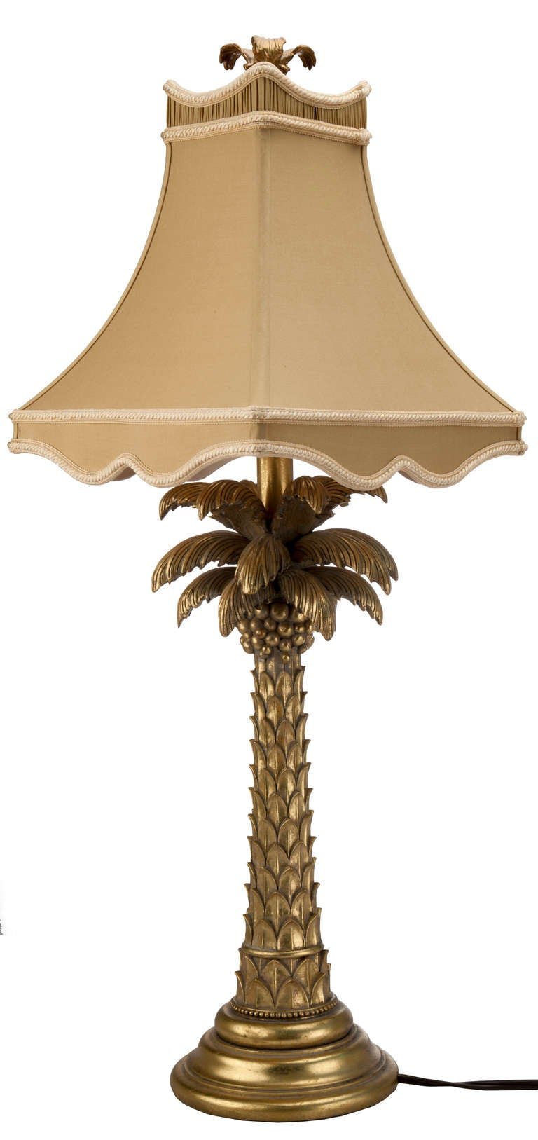gold palm tree table lamp for sale at 1stdibs. Black Bedroom Furniture Sets. Home Design Ideas