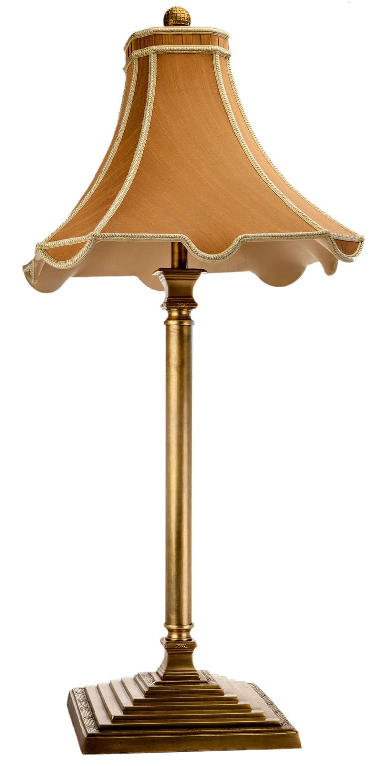 Brass Table Lamp With Silk Shade For Sale At 1stdibs