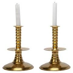 Colonial Williamsburg Brass Trumpet Candlesticks