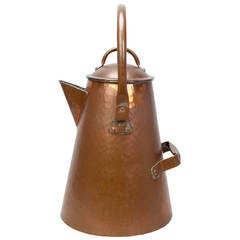 Oversized American Craftsman 'Cowboy Style' Copper Coffee Pot