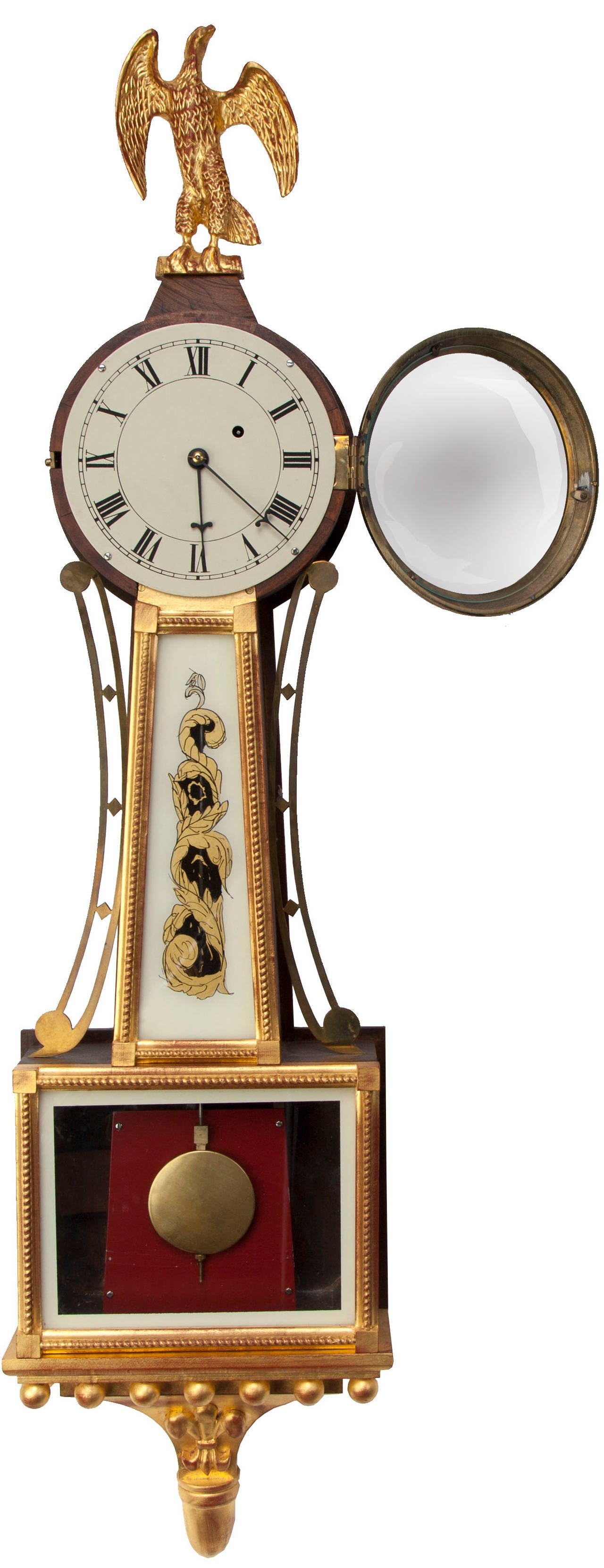 Beaded American Federal Style Banjo Clock For Sale