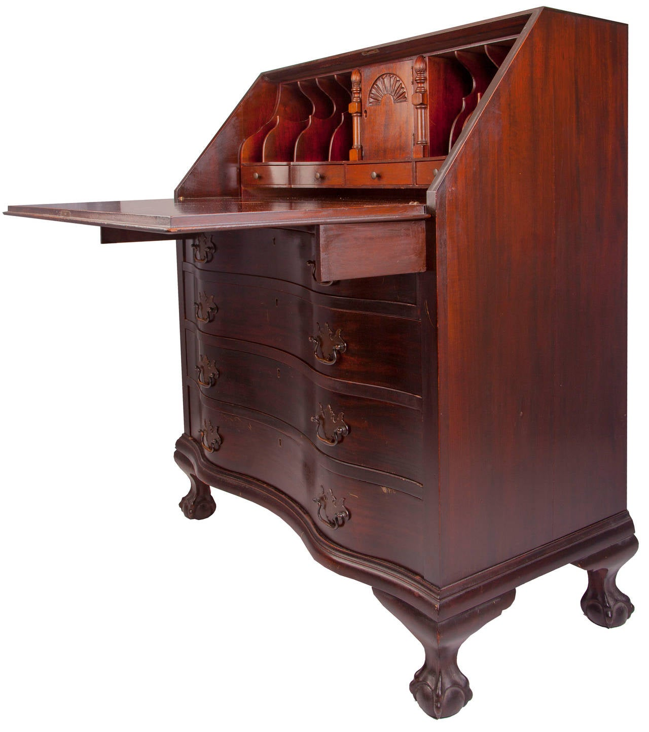 Serpentine Fall Front Secretary Desk At 1stdibs