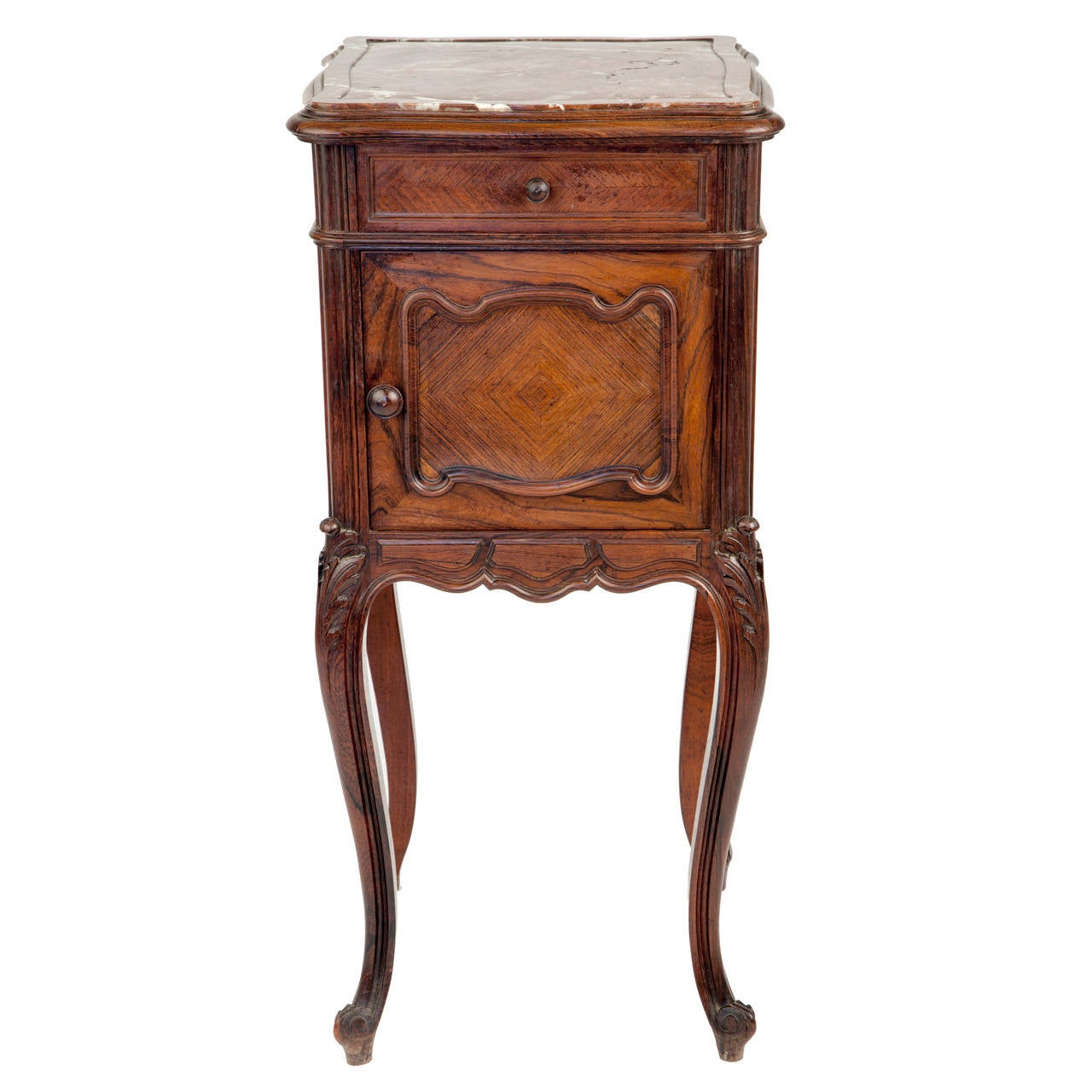 High Quality Queen Ann Style Dark Walnut And Marble Marquetry Side Table 1