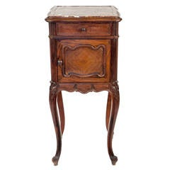 Queen Ann Style Dark Walnut and Marble Marquetry Side Table