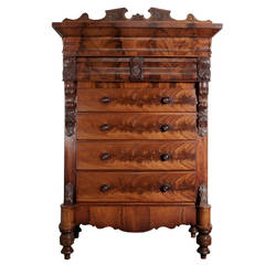 Tall Louis Philippe Style Mahogany Chest of Drawers