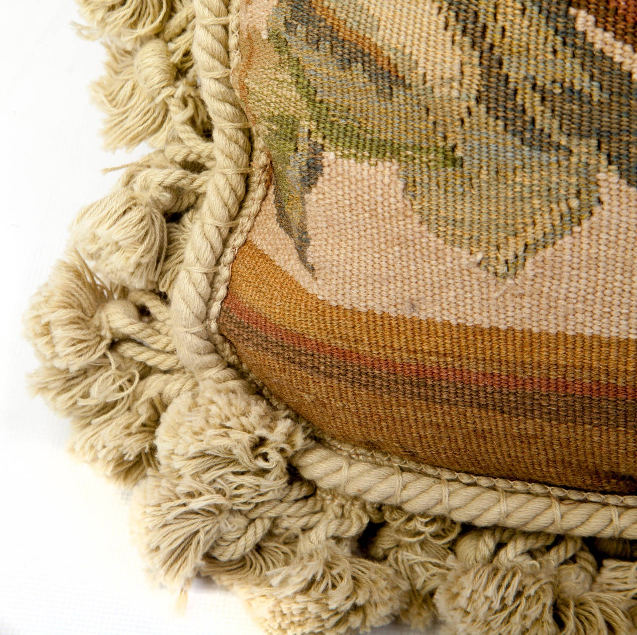 Mid 18oos, Aubusson Tapestry pillows, with updated velvet backing  and oniom fringe.