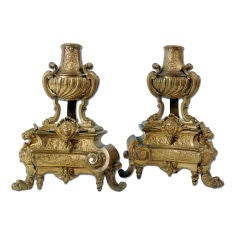 Pair of Early Georgian Style Bronze Chenets