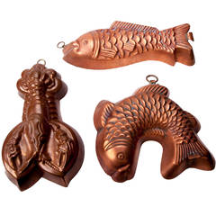Antique German Fish and Lobster Copper Moulds