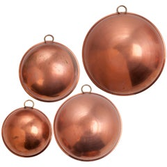 Four-Piece Antique Copper Mixing Bowl Set