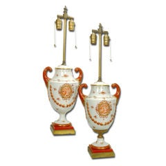 Chinese Export  Porcelain Urn Lamps