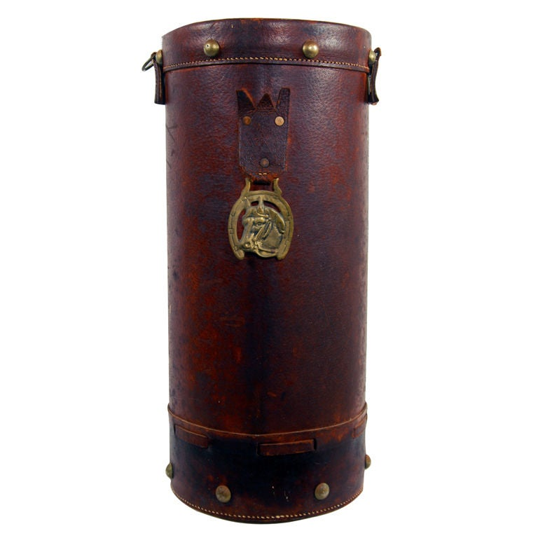 Antique English Leather Horse Feed Bucket Umbrella Stand