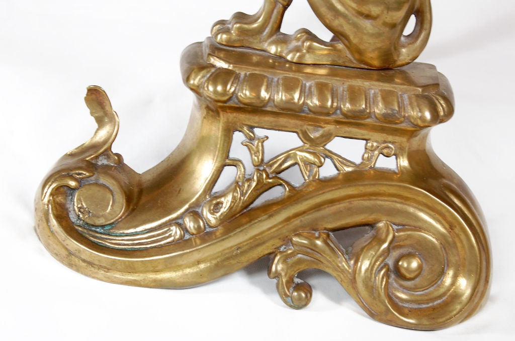 French Brass Griffin Andirons In Excellent Condition For Sale In Asheville, NC