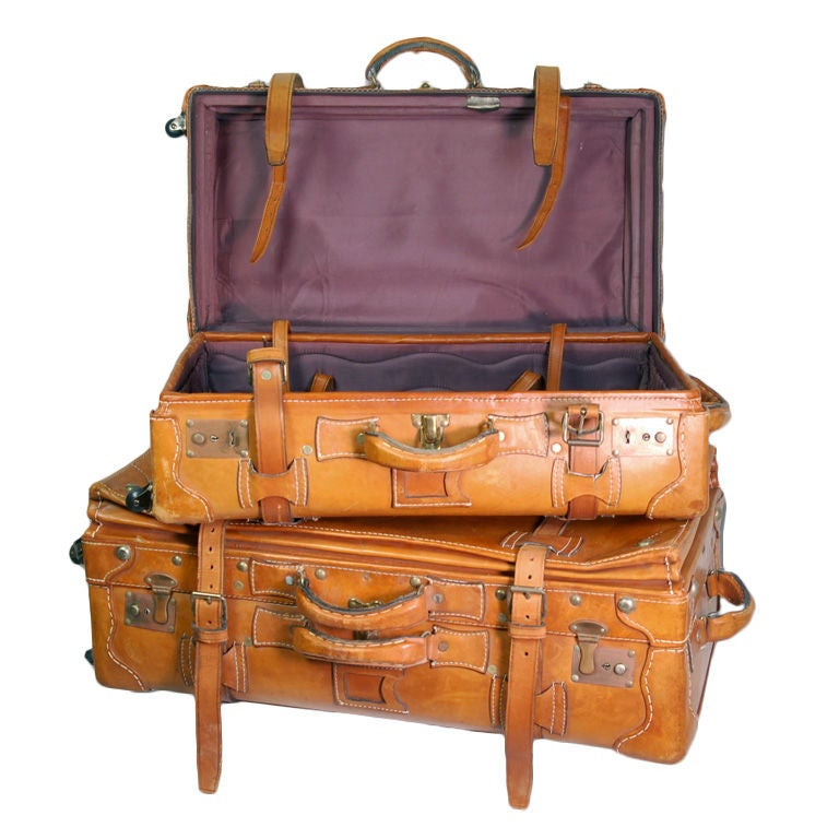 Vintage Leather Luggage Set 1