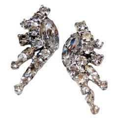Mid-Century Rhinestone Spray Earrings By Kramer of New York