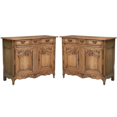 Pair Of Oak Normandy Servers Made In Italy For Bloomingdales At 1stdibs