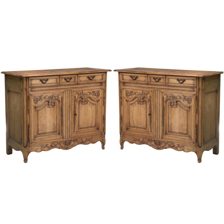 Pair of Oak Normandy Servers made in Italy for