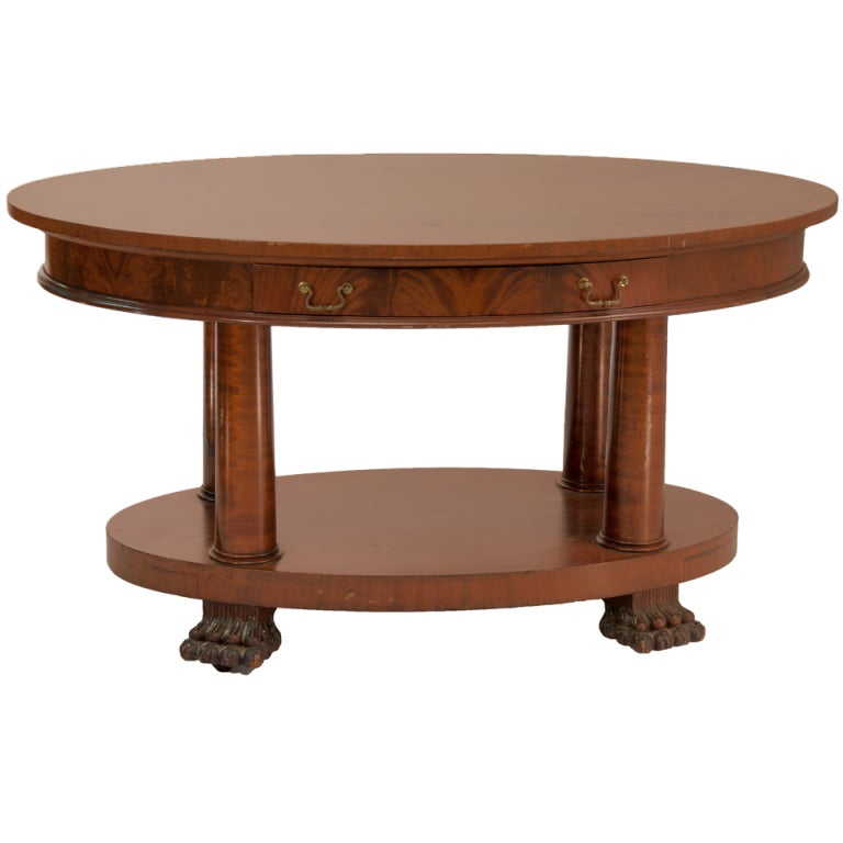 Empire Oval Table With Claw Feet And Rounded Drawers For Sale
