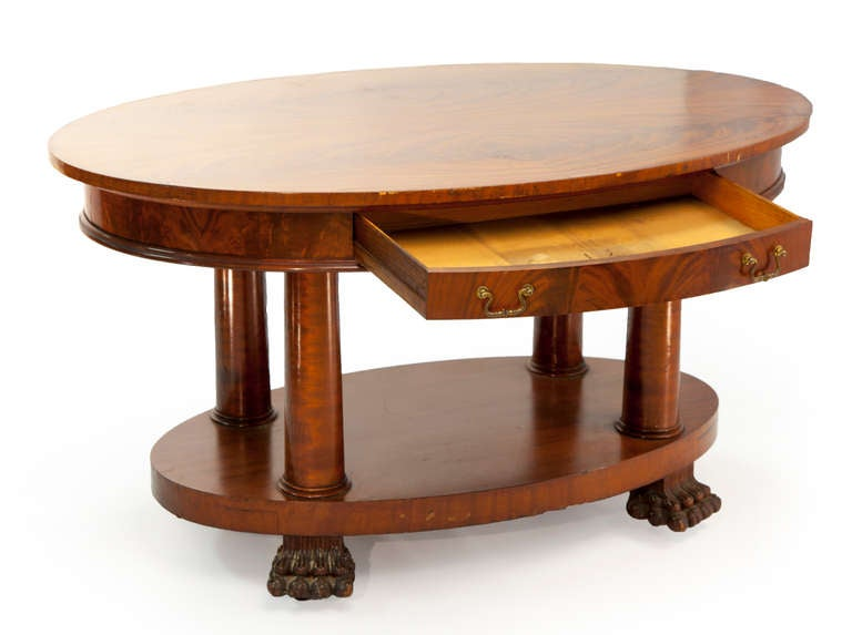 Empire Oval Table With Claw Feet And Rounded Drawers 2
