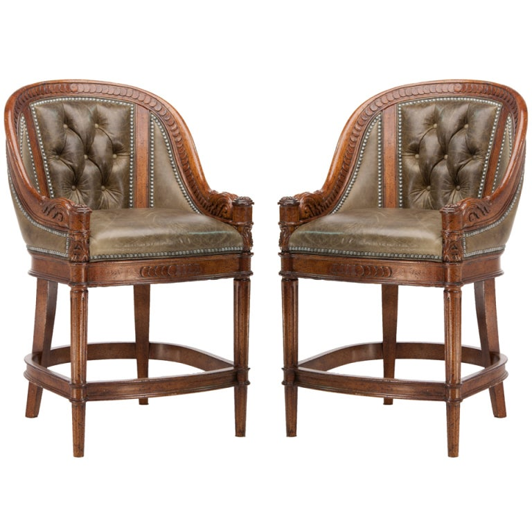 Counter Height Nailhead Chairs : Maitland Smith Style Leather Counter Height Stools with Nailhead Trim ...