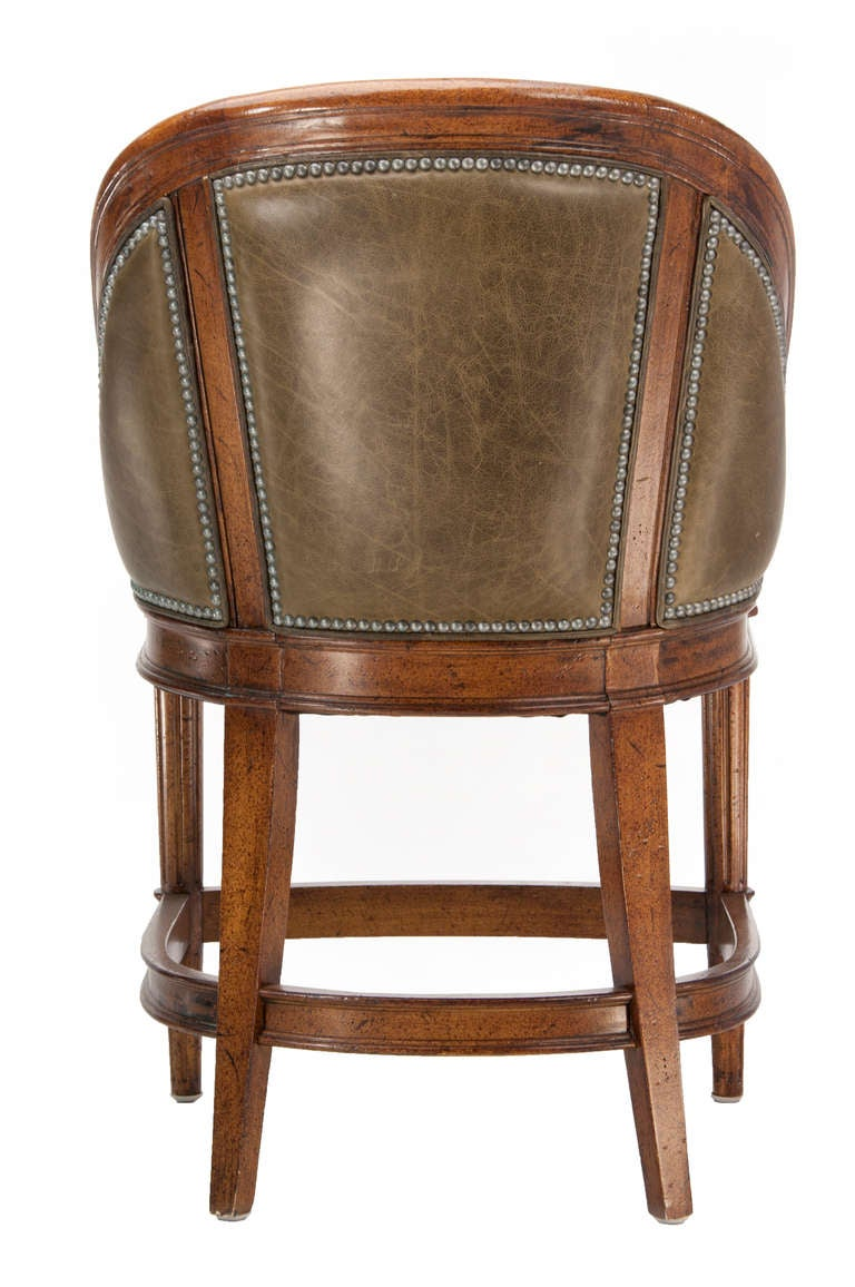 Maitland Smith Style Leather Counter Height Stools With