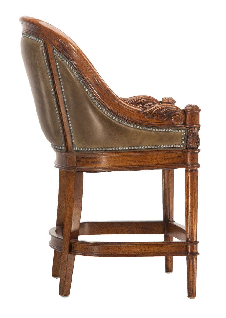 Maitland Smith Style Leather Counter Height Stools With Nailhead Trim Pair For Sale At 1stdibs