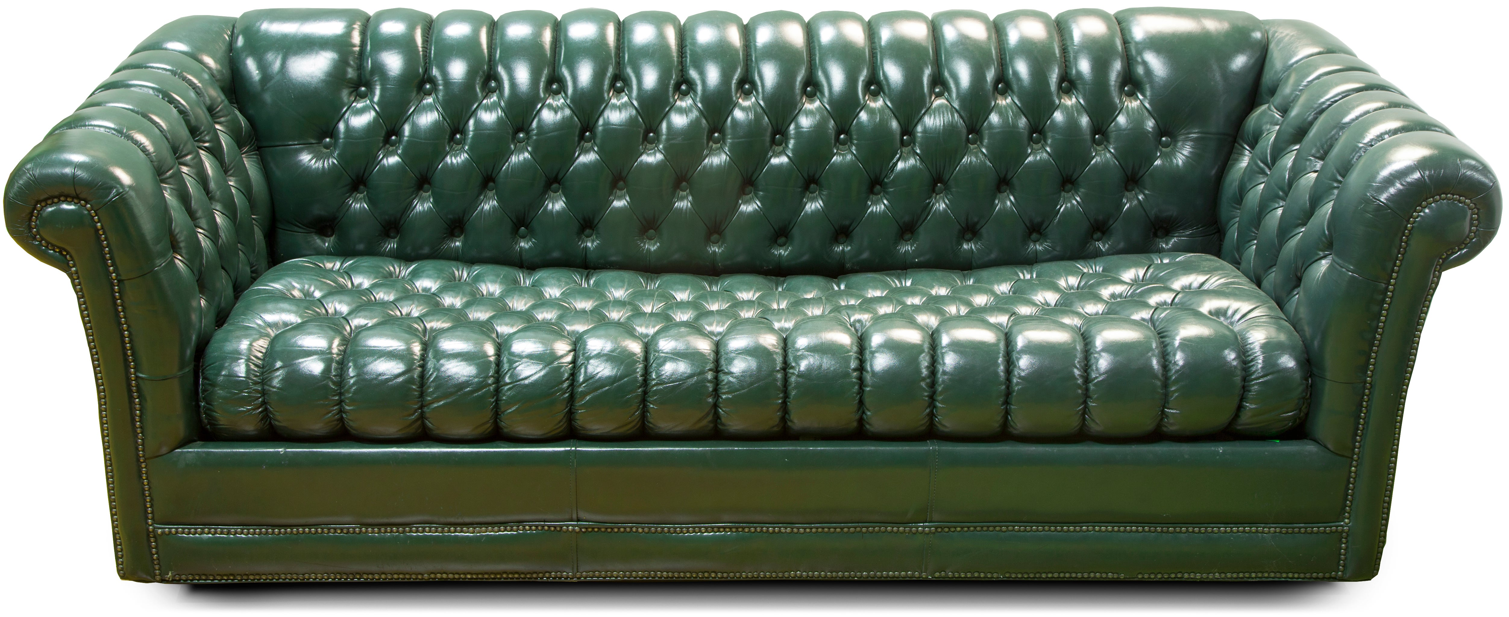 Ordinaire Green Leather Chesterfield Sofa