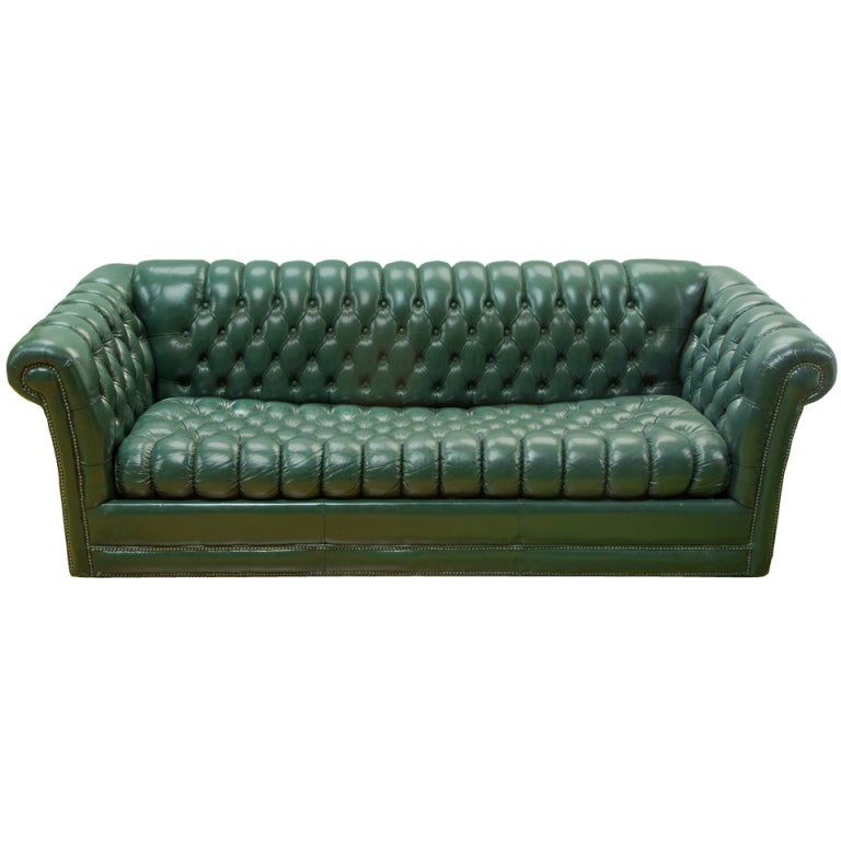 Green Leather Chesterfield Sofa For