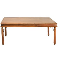 Indian Teakwood Dining Table with Pedestal Legs and Wrought Iron Trim