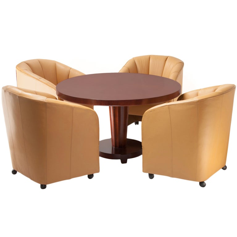 Baker Round Club Table with Leather Barrel Chairs at 1stdibs