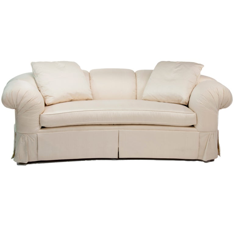Raw Silk Baker Cream Colored Sofa At 1stdibs