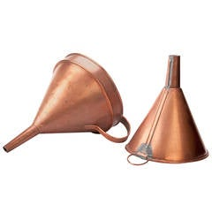 Pair of Large Antique Copper Funnels