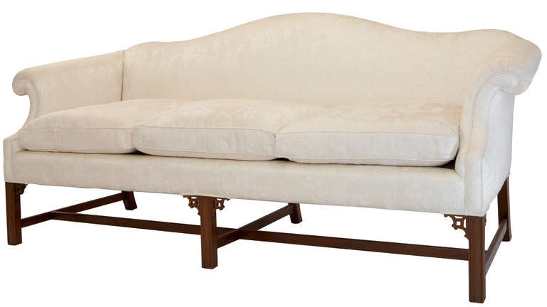 Attrayant Nicely Shaped Chippendale Style Camelback Sofa, Scooped Back Scrolled Arms,  Mahogany Base With Straight