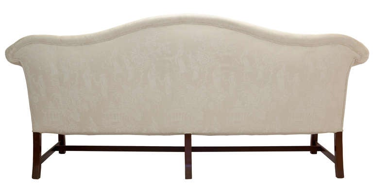 Camelback Mahogany Chinese Chippendale Style Sofa In Good Condition For Sale In Asheville, NC