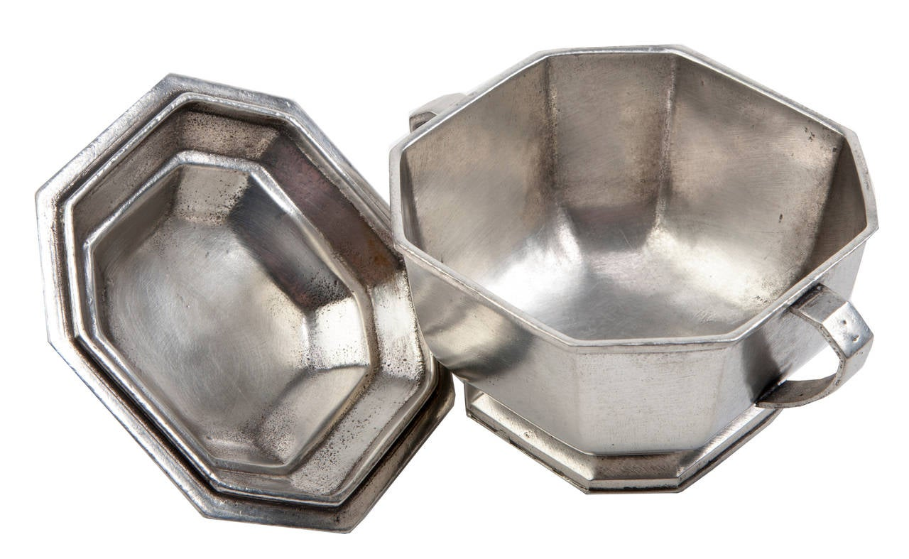 20th Century Italian Midcentury Five-Piece Pewter Coffee and Tea Service For Sale