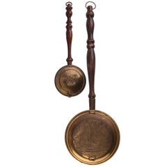 Set of Two French Brass Bed Warmers
