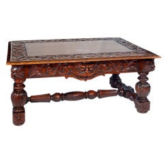 19th Century Carved Oak Table with Grotesque Faces
