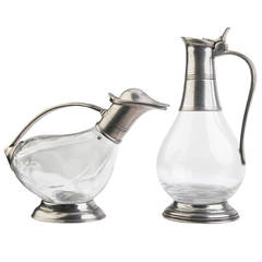 Glass and Pewter Pitcher Set