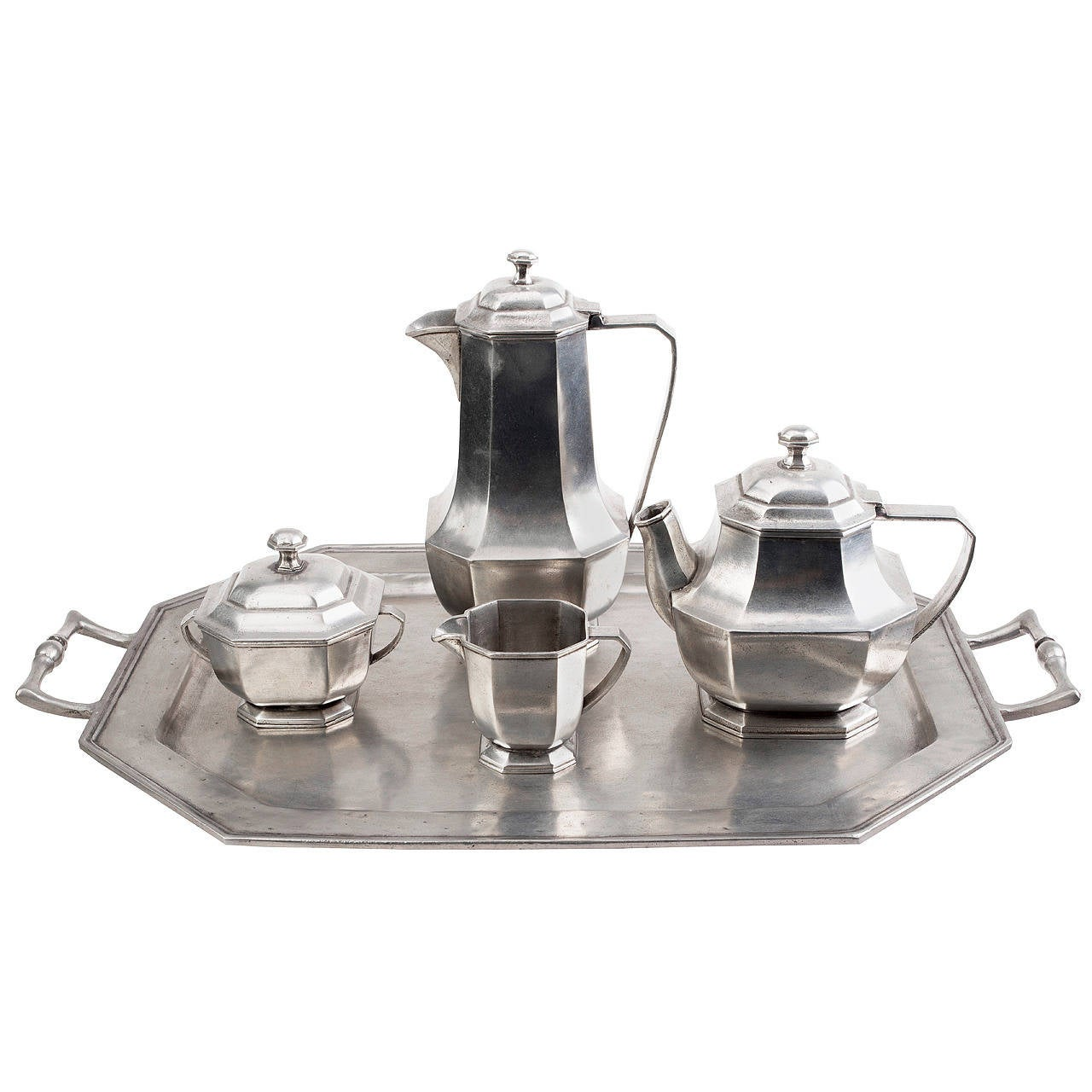 Italian Midcentury Five-Piece Pewter Coffee and Tea Service For Sale