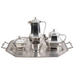 Italian Midcentury Five-Piece Pewter Coffee and Tea Service