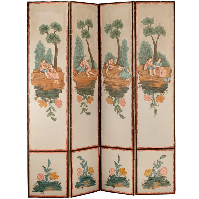 19th Century French Hand Painted Screen