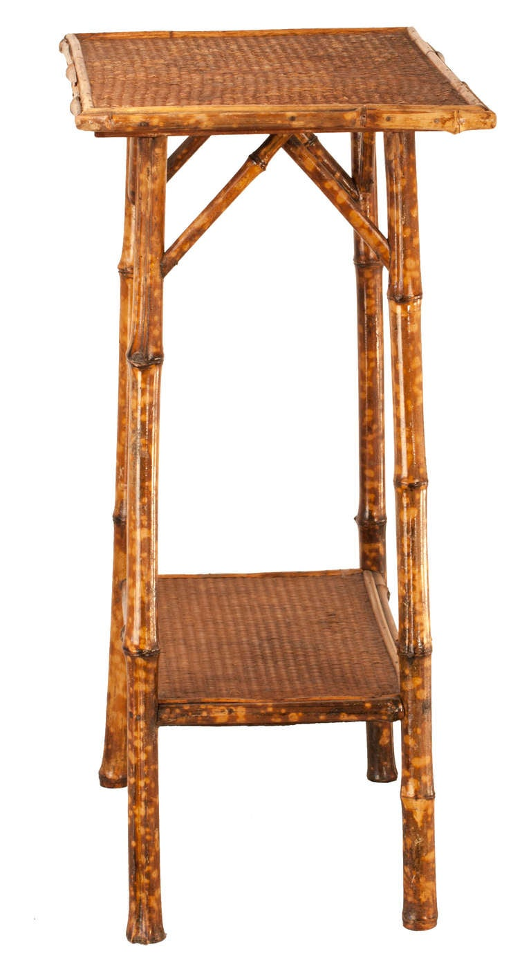 Victorian Tortoise Shell Bamboo And Woven Cane Plant Stand