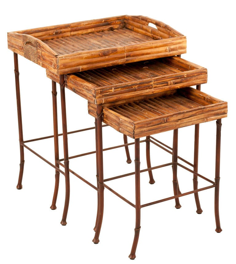 Bamboo Nesting Tables For Sale 5