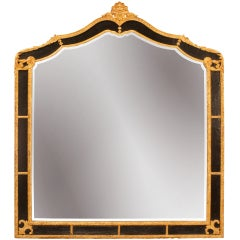 Queen Anne Style Gilt & Black Lacquer Mirror
