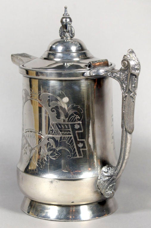 Etched Victorian Silver Plate Water Pitcher with Ballon Engraving For Sale