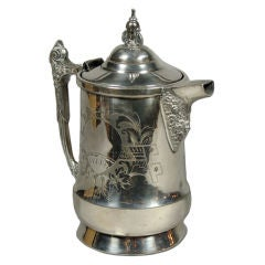 Victorian Silver Plate Water Pitcher with Ballon Engraving