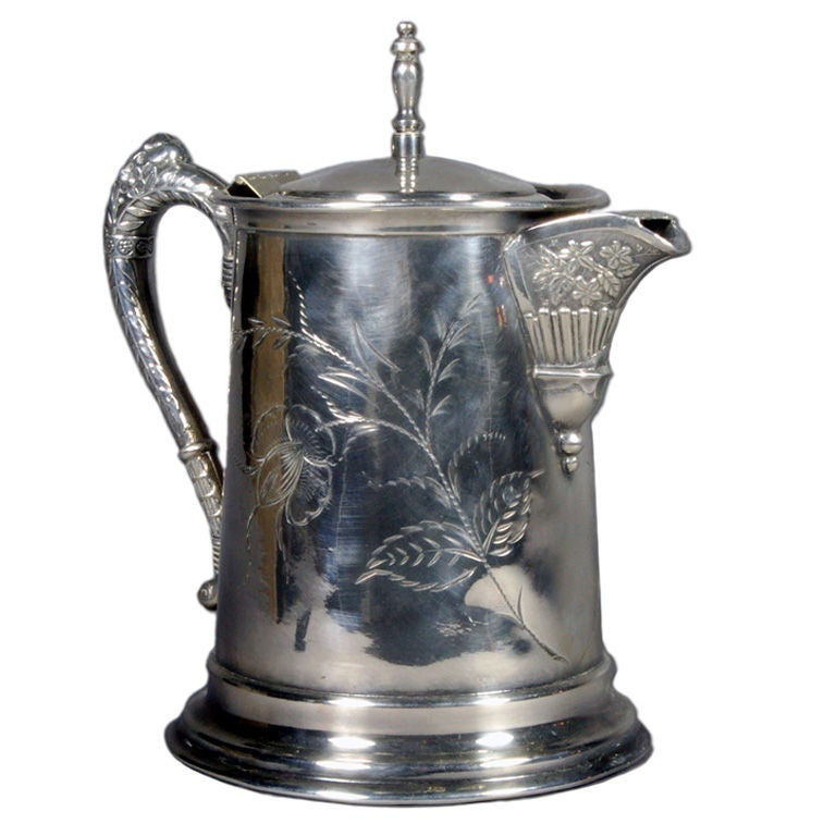 Silver Water Pitcher with Japanese Flower Etching